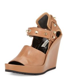 Studded+Leather+Wedge+Sandal,+Camel+by+Balenciaga+at+Neiman+Marcus.