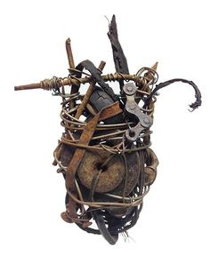 Michael Bugler 'Amulet' 2016, found objects, wire, tire fragment