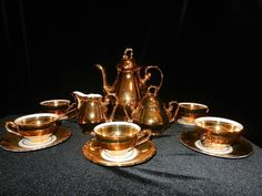 Vintage Bavarian Mayer Wiesau 24Kt Tea Set