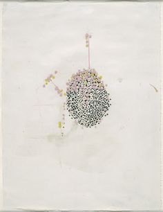 """Ellen Gallagher  """"Untitled""""  Synthetic polymer paint, plasticine, ink, felt-tip pen and pencil on paper    2000"""