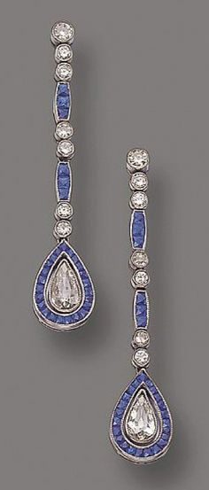 PAIR OF DIAMOND AND SAPPHIRE PENDANT-EARRINGS