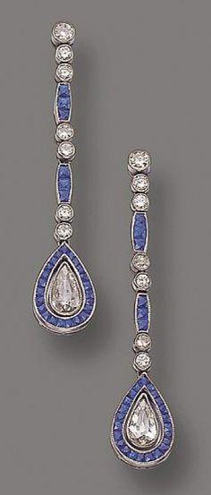 PAIR OF DIAMOND AND SAPPHIRE PENDANT-EARRINGS