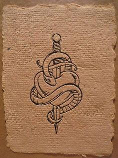 greeting card snake/dagger/coronary heart tattoo fashion embroidered handmade paper. >> See more by visiting the photo link