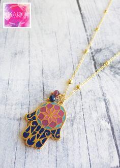 Long necklace hamsa necklace good luck boho by MarKiJewelry