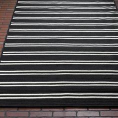 Racing Stripe Indoor Outdoor Rug black