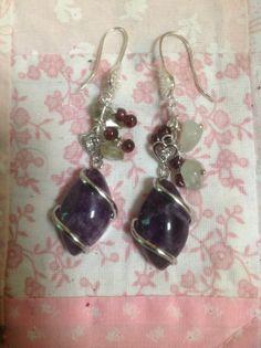 Sterling Silver, Amethyst, Prehnite and Garnet  Earrings