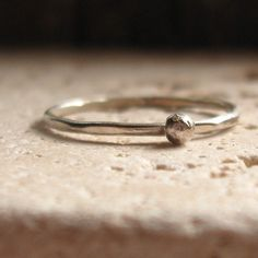 silver stacking ring with nugget by tinahdee on Etsy