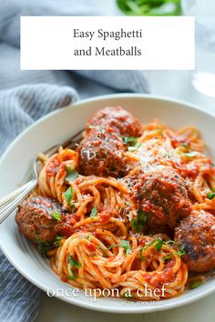 Easy Spaghetti and Meatball Recipe, meatballs were quite good. As others, I used Rao's sauce and was very happy with the combination. # best meatball recipe Easy Spaghetti and Meatball Recipe - Once Upon a Chef Chef Recipes, Pasta Recipes, Italian Recipes, Dinner Recipes, Cooking Recipes, Healthy Recipes, Cooking Chef, Do It Yourself Food, Meatball Recipes