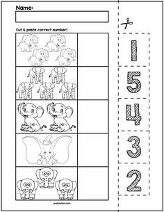 $1 | Teach counting skills with elephants! Great for teaching 1:1 counting skills and number recognition for numbers 1-5. No prep and great for math centers! #preschool #preschoolers #preschoolactivities #kindergarten #Homeschooling #mathcenters #elephants