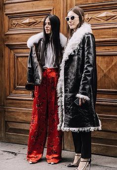 fall style with bff, velvet pants, long coat