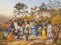 """""""Batuque"""", tela do alemão Johann Moritz Rugendas, que viajou por todo o Brasil durante o período de 1822 a 1825, pintando os povos e costumes que encontrou.  Veja também: http://semioticas1.blogspot.com.br/2011/08/tem-sambafoto-dos-bambas-cascata-donga.html"""