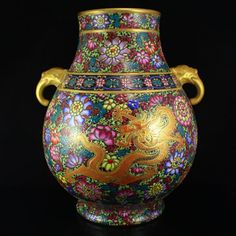 Superb Hand-painted Chinese Gilt Gold Double Ears Famille Rose Porcelain Pot w Qianlong Mark
