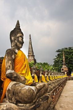 the Wat Yai Chai Mongkol temple is still a working temple that brings life to this magnificent ancient site. Bangkok Thailand, Thailand Travel, Asia Travel, Ayutthaya Thailand, Places Around The World, Around The Worlds, Gulliver's Travels, Life Is A Journey, Pattaya