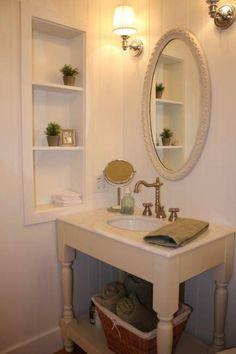 48 Trendy bathroom vanity storage built ins spaces Built In Bathroom Storage, Bathroom Shelf Decor, Rustic Bathroom Vanities, Victorian Bathroom, Built In Storage, Bathroom Ideas, Cabinet Storage, Wall Storage, Rustic Vanity