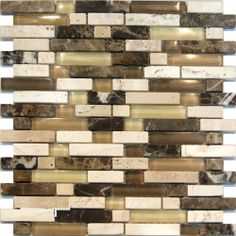 Travertine Emperador Marble Stone & Glass Brown Beige Mosaic Tile  in stock $14.99/SF