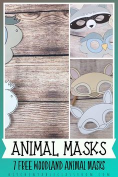 Basteln mit Kindern Seven different woodland animal masks print in full color or black and white for Animal Masks For Kids, Animal Activities For Kids, Animals For Kids, Mask For Kids, Rabbit Crafts, Bear Crafts, Easy Crafts For Kids, Diy Arts And Crafts, Simple Crafts