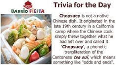 Do you love Chopsuey? Did you know that Chopseuy is not a native Chinese dish? Here's a little trivia for you.  Enjoy your day!
