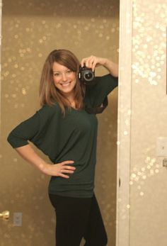 Love the Dolman sleeve and the color is one I don't have yet. Aleah Heathered V-Neck Dolman Top ($48)