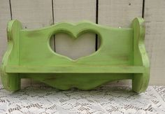 Apple Green Vintage Heart Shelf / Wooden Shabby Chic on Etsy, $20.00