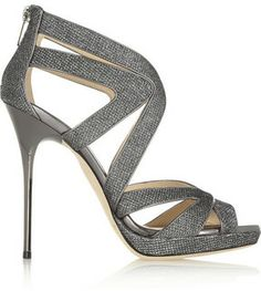 Jimmy Choo Glitter-finished leather sandals on shopstyle.co.uk