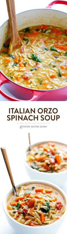 This Italian Orzo Spinach Soup is easy to make in 30 minutes, and it is wonderfully delicious and comforting. | gimmesomeoven.com #SuperSoups!
