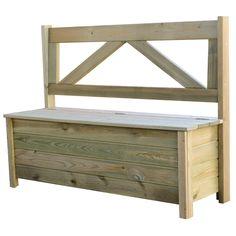 Coffre banc en bois traité autoclave 120cm x 40cm x 90 cm