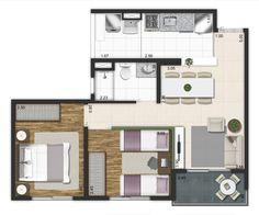 Planta 49m². 2 dormitórios. Torre B.