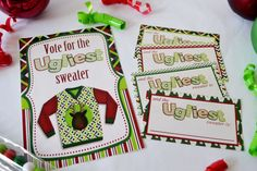Ugly Christmas Sweater Party Printable Voting Ballots and Sign. Set out the sign and ballots and let the voting begin!  A fun activity for your Ugly Sweater party, I mean there has to be a winner right?