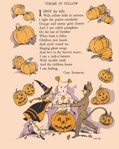 Halloween Poem Theme In Yellow Pumpkin Witch Ghost Cat Postcard Halloween Poems, Vintage Halloween Images, Samhain Halloween, Halloween Prints, Halloween Pictures, Vintage Holiday, Halloween Art, Holidays Halloween, Happy Halloween