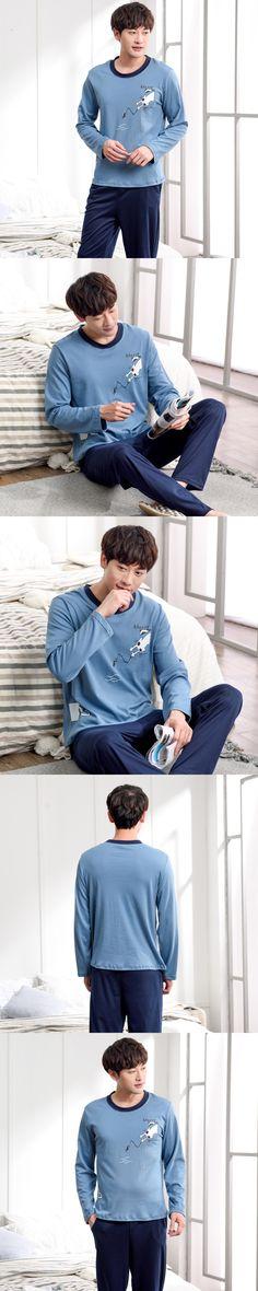 2017 Mens Pajama Sets 100% Cotton Long Sleeve O-neck Cartoon Cat Sleepwear Lounge Homewear Clothes Pajamas for Men Autumn Winter