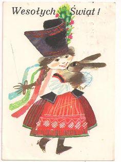 Zbigniew Rychlicki Vintage Greeting Cards, Vintage Postcards, Polish Easter, Polish Folk Art, Hoppy Easter, Easter Card, Chocolate Bunny, Sketchbook Inspiration, Design Inspiration