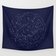 Wall Tapestry featuring Constellation Map Indigo by Merlin