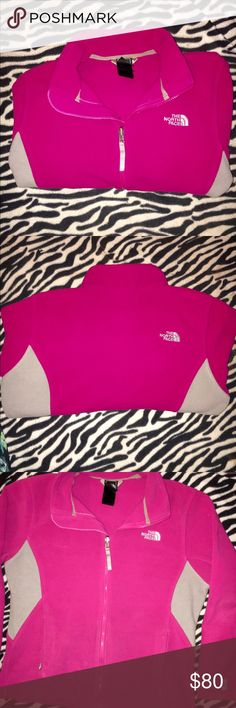 NORTH FACE zip-up Pink and grey soft north face zip up large inside pockets. Warm and in perfect condition!!! Size: medium/ large women's The North Face Jackets & Coats