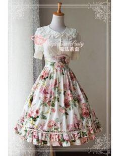 Magic Tea Party Flower Printed Elegant Lolita Skirt