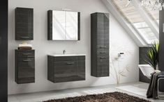 Products Stylefy Grotteria Bad Set schwarz Hochglanz If you are unable to find one of your local hom Wooden Bathroom Cabinets, Bathroom Sink Tops, Bathroom Sets, Bathroom Black, Bathroom Storage Units, Bathroom Drawers, Cabinet Shelving, Shelves, Storage Cabinets