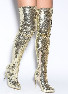 Sequins Of Events Thigh-High Boots GOLD BLACK - GoJane.com
