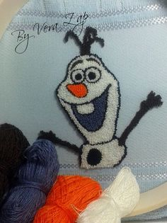 Ponto Russo!!! Olaf... Olaf, Fru Fru, Reno, Punch Art, Punch Needle, Rug Hooking, Drawing, Finding Yourself, Crochet Hats