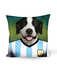 whosepet-Argentine Dogo soccer fan pillow 2014 Brazil World Cup animal pillow fashion new design argentine team pillow $19.99