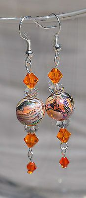 Swarovski Orange Clear Crystals Elements Dangle Earrings Marble Swirl