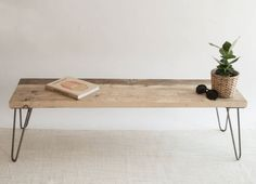 Vince Wooden Bench | Hairpin Bench | Industrial Bench | Mid Century Modern | Reclaimed Wood Bench | Eco Friendly Bench