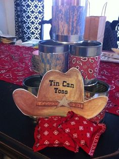 Cowboy theme party games - Tin Can Toss- do gun-shots? Rodeo Party, Cowboy Theme Party, Horse Party, Cowboy Party Games, Western Party Games, Farm Party Games, Western Party Decorations, Barnyard Party, Decoration Party