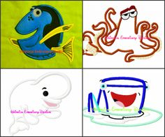 Finding Dory Set of 4 Machine Embroidery Applique Design