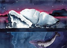 Old Norse Iceberg Original Watercolor Painting. $75.00, via Etsy from Jellybeans -Angie Vandenbogaard