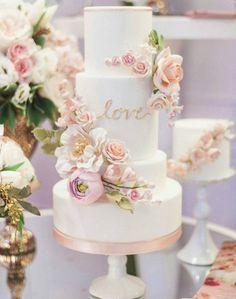 Refreshingly beautiful wedding cake; Featured: Truffle Cake and Pastry