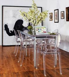 transparent furniture modern interiors dining room furniture modern home large wall painting