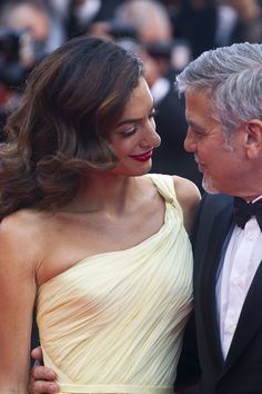 CANNES, FRANCE - 2016/05/12: Amal Clooney and George Clooney attend the screening of 'Money Monster' at the annual 69th Cannes Film Festival at Palais des Festivals in Cannes, France. (Photo by Elyxandro Cegarra/Pacific Press/LightRocket via Getty Images) via @AOL_Lifestyle Read more: http://www.aol.com/article/2016/05/16/onlyonaol-how-amal-clooney-shut-down-the-red-carpet-in-cannes/21378105/?a_dgi=aolshare_pinterest#fullscreen
