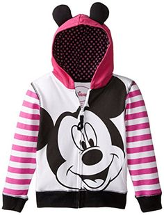 Disney Little Girls Mickey Mouse Zip Up Hoodie with Ears On Hood Multi 6X >>> Continue to the product at the image link.
