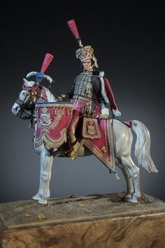 Timbalier, Grenadiers a Cheval - 1809 - Virtual Museum of Historical Miniatures Napoleon Josephine, Virtual Museum, Miniature Figurines, Napoleonic Wars, Figure Model, Toy Soldiers, Military Fashion, Empire, Horses