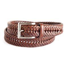Men's Croft & Barrow® Braided Leather Web Belt, Brown