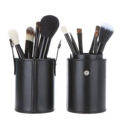 Shari New 12pcs Professional Wooden Handle Makeup Brush Set Cosmetic Brush Kit Makeup Tool with Cup Leather Holder Case Black *** Find out more about the great makeup products at the image link.